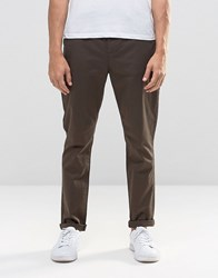 Asos Tapered Chinos In Dark Brown Turkish Coffee