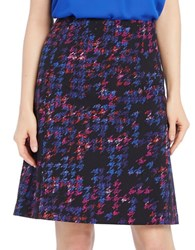 Ellen Tracy Printed A Line Skirt Blue Multi