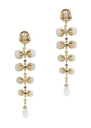 Isharya Serpent Orb Gold Plated Drop Earrings White