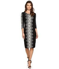 Christin Michaels Mahlia Midi Bodycon Sweater Dress Black Beige Women's Dress Multi