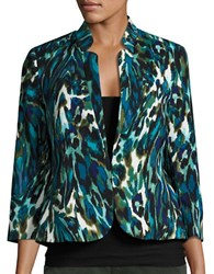 Nipon Boutique Printed Open Front Blazer Teal
