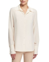 The Row Washed Crepe De Chine Blouse New Brick