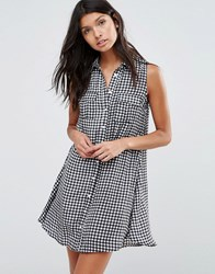 Pixie And Diamond Check Print Shirt Dress Black White Small Ch