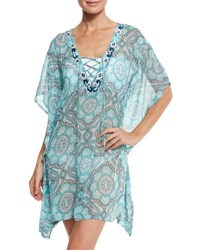 Letarte Lace Up Sheer Printed Coverup Tunic Turquoise Multi