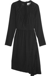 Sonia Rykiel Swiss Dot Tulle And Lace Paneled Crepe Dress Black
