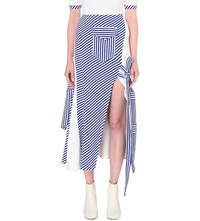 Richard Malone Stripe Print Knitted Skirt Electric Blue White