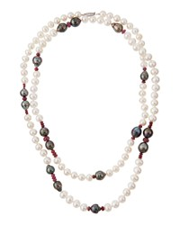 Belpearl Long Mixed Pearl And Pink Sapphire Necklace 42