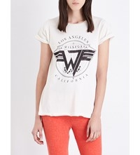Wildfox Couture On Tour Cotton Jersey T Shirt Alabaster