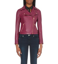 Ted Baker Caryane Leather Quilted Sleeve Biker Pale Purple