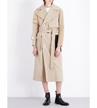 Undercover Multi Texture Cotton Blend Trench Coat Beige