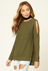 Forever 21 Open Shoulder Sweater Top Olive