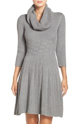 Eliza J Women's Fit And Flare Sweater Dress Grey