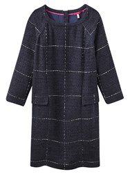 Joules Esther Large Check Dress Navy Boucle