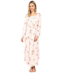 Carole Hochman Floral Long Sleeve Gown Painted Floral Women's Pajama Pink
