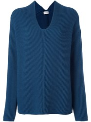 Moncler Loose Fit Knitted Sweater Blue