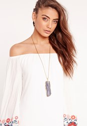 Missguided Large Square Stone Pendant Necklace Gold Gold