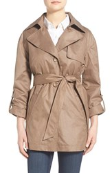 Women's Ellen Tracy Short Single Breasted Chintz Trench Coat British Khaki