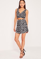 Missguided Zebra Jacquard Mini Skirt Black Black
