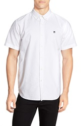 Obey 'Eighty Nine' Slim Fit Short Sleeve Oxford Shirt White