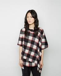 3.1 Phillip Lim Asymmetrical Flannel Top Ruby And Black