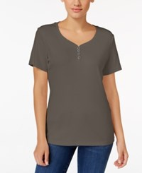 Karen Scott Henley T Shirt Only At Macy's Brown Clay