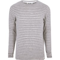 Only And Sons River Island Mens Grey Marl Ribbed Knit T Shirt