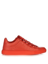 Balenciaga Arena Low Top Leather Trainers Red