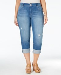 Styleandco. Style And Co. Plus Size Distressed Cuffed Saint Wash Capri Jeans Only At Macy's
