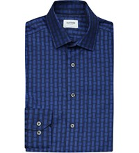 Duchamp Woven Jacquard Cotton Shirt Blue