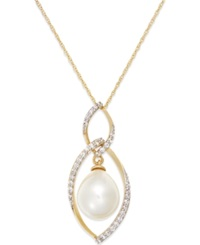 Macy's Cultured Freshwater Pearl 9Mm And Diamond 1 4 Ct. T.W. Pendant Necklace In 14K Gold Yellow Gold