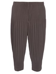 Homme Plisse Dropped Crotch Pleated Cropped Trousers Charcoal