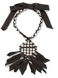 Lanvin Pearl And Ribbon Necklace Black