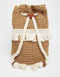 Asos Straw Duffle Beach Backpack Multi