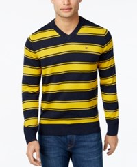 Tommy Hilfiger Men's Striped V Neck Sweater Navy Blazer