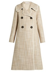 See By Chloe Double Breasted A Line Woven Coat Cream