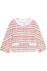 Boutique Moschino Lace And Grosgrain Trimmed Boucle Tweed Jacket Pink