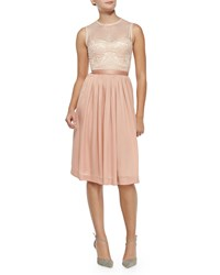 Catherine Deane Zaina Embroidered Bodice Cocktail Dress Tearose Desert Bl