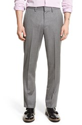 Men's Big And Tall Bonobos Slim Fit Wool Trousers Grey Herringbone