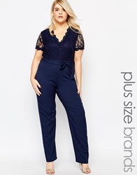 Club L Plus Size Jumpsuit With Scallop Lace Top Navy