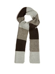A.P.C. Striped Ribbed Knit Scarf Grey Multi