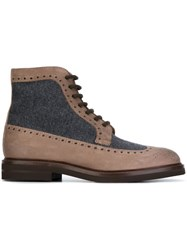 Brunello Cucinelli Wool Panel Boots Brown