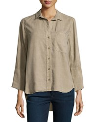 Bella Dahl Bracelet Sleeve Button Down Shirt Rustic Oli
