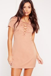 Missguided Petite Exclusive Lace Up Front Shift Dress Nude Beige