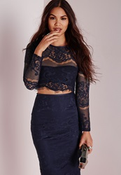 Missguided Lace Long Sleeve Scalloped Crop Top Navy Blue