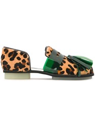 House Of Holland Animal Print Cutout Loafers Nude And Neutrals
