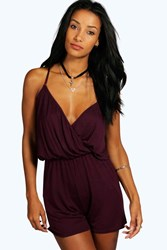 Boohoo Cami Plunge Strappy Playsuit Berry