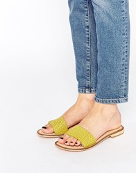 Ravel Slide Leather Flat Sandals Lime Green