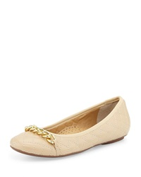Neiman Marcus Shandra Quilted Ballet Flat Pudding