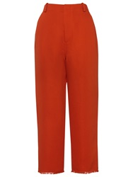 Whistles Frayed Hem Wide Leg Trousers Red