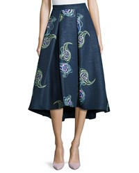 Phoebe Couture Floral Print Tea Length Skirt Navy Multi